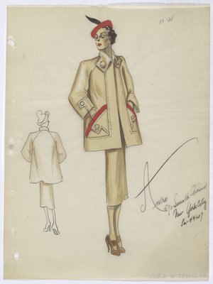 Light Khaki Coat and Skirt with Orange-Red Pockets and Hat