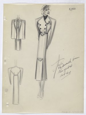 Suit with Double-Breasted Jacket and Triangle Detail on Jacket and Skirt