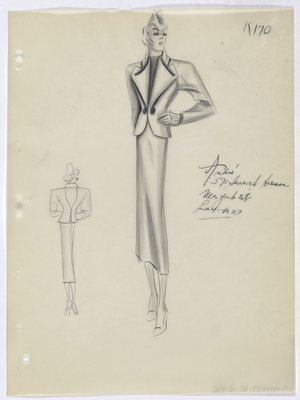 Suit with Rolled Lapel and Two Buttons at Waist
