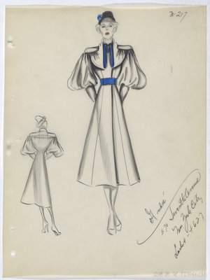 Coat with Blue Button and Belt with Blue Detail on Collar and Black Hat
