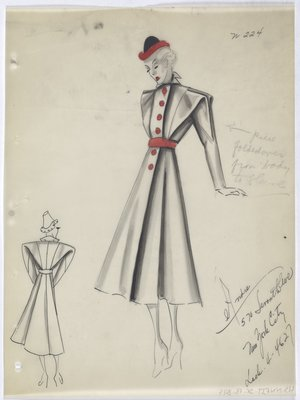 Coat with Pink Buttons down Front, with Pink Belt and Pink Trimmed Black Hat