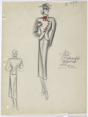 Suit with Red Buttons Curved along Jacket Opening, with Red Scarf and Handkerchief