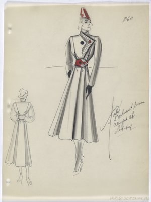 Coat with Full Red Belt and Red and Black Buttons, with Red Hat
