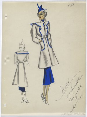 Coat with Blue Trim along Front, with Blue Skirt and Hat