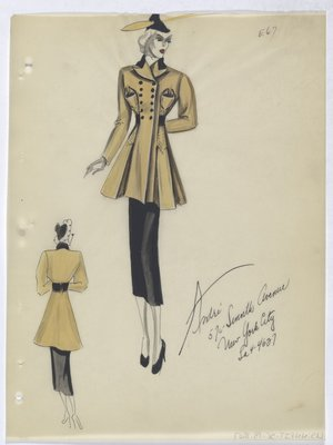 Yellow Coat with Black Buttons and Trim, with Black Skirt and Hat
