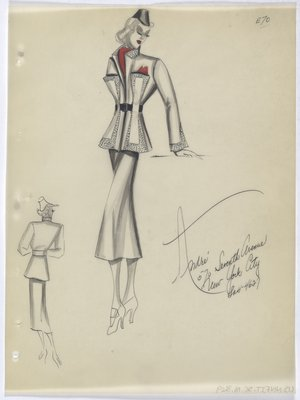 Jacket with Topstitching on Front and Sleeve Cuff, with Red Scarf and Handkerchief