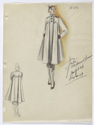 Coat with Brown Buttons, Worn over Brown Skirt with Matching Hat, Gloves and Shoes