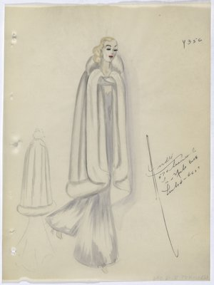 Fur Cape Worn over Grey Dress, with Model's Hair and Face Painted