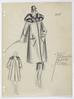 Coat with Fur-Trimmed Collar and Triangle Pockets