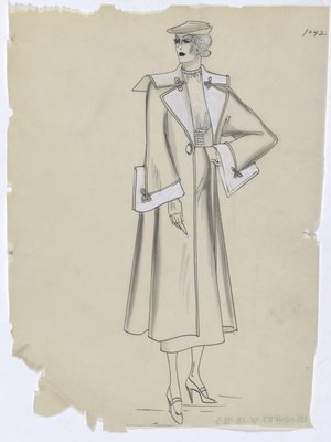 Coat with White Lapels and Cuffs, Worn over Dress or Suit