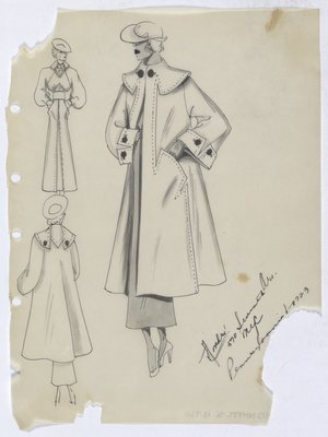 Coat with Topstitching and Brown Buttons, Shown with Dress