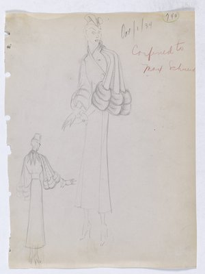 Coat with Tie Closure at Back of Neck and Fur-Trimmed Sleeves