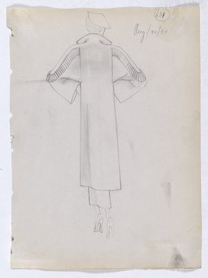 Coat with Lined Panel along Back of Sleeve