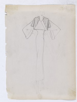 Coat with Folded Collar and Three Buttons on Side