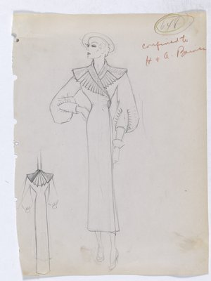 Coat with Fan Detail on Collar and Back