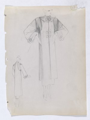 Coat with Line Detail Around Armhole and Cuff of Sleeve