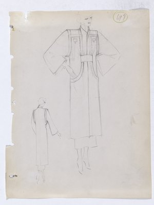 Coat with Square Buttons at Top and Curved Slit Pockets