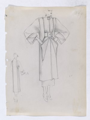 Coat with Square Button at Neck and Large Triangular Patch Pockets