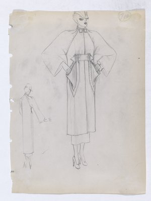 Coat with Two Square Buttons at Neck and Raglan Sleeve