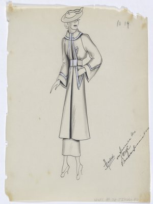 Coat with White Trim along Front and Sleeve, with White Buttons