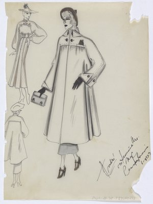 Coat with Brown Buttons, Hat, Gloves and Shoes, Shown with Brown Dress