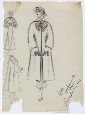 Coat with Orange Striped Bows, Shown with Dress