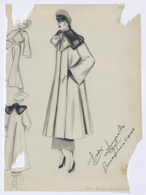 Coat with Black Fur over Shoulders and Bow at Neck, Shown with Dress