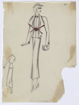 Suit with Red Lining on Folds at Top, with Red Belt and Black Buttons