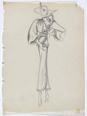 Jacket and Skirt with Trim along Top and Hem and Sunburst Detail over Shoulder