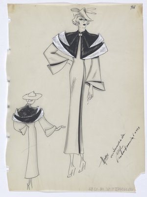 Coat with Black Fur Capelet Trimmed in White