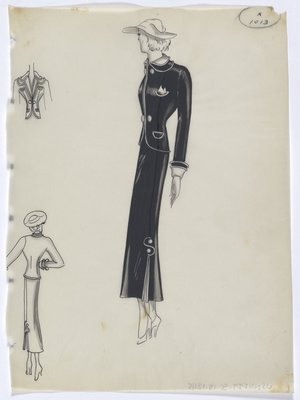 Black Suit with Piping and S-Shaped Design on Skirt