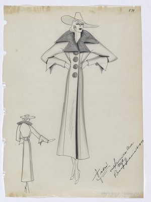 Coat with Lines on Pointed Collar and Round Buttons