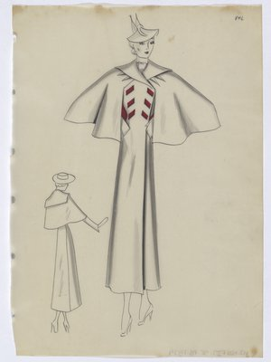 Coat with Capelet with Red Lining and Red Buttons at Top