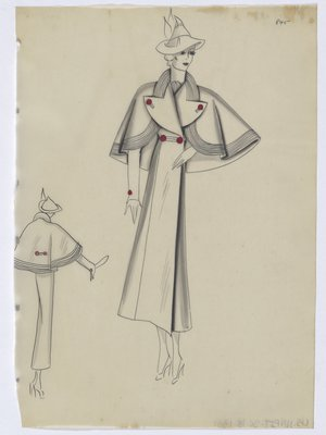Coat with Capelet with Lined Trim, with Red Buttons