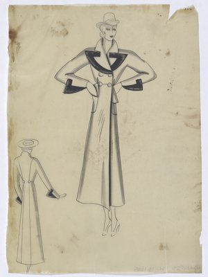 Coat with Dark Trim along Pointed Lapel and Sleeve Cuff
