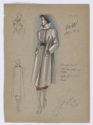 Double-Breasted Coat with Stand-Up Collar, Worn with Orange Skirt