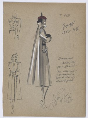 Coat, Belted at Front with Full Back, Worn with Black Gloves and Red Hat