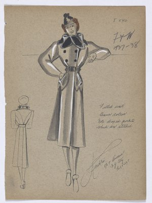 Coat with Black Fur Collar, with Lines on Draped Pockets