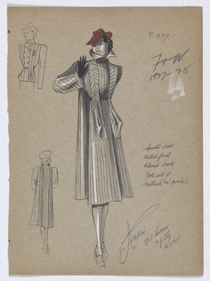 Coat with Lines down Front, and Red Belt and Collar