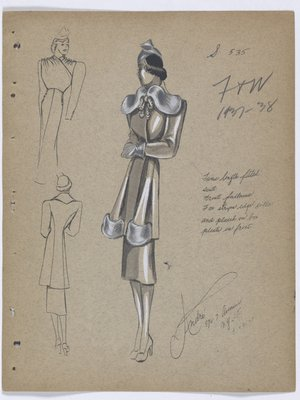 Coat with Fur Strips at Collar and on Pleats at Front, with Grey Hat and Gloves