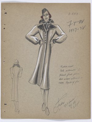 Coat with Black Fur Collar and Lapel, with Fur Trim at Cuff