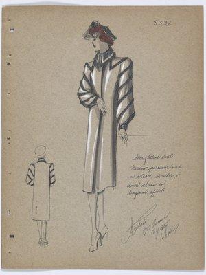 Coat with Dark Fur Bands at Collar and along Sleeve