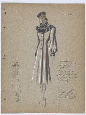 Coat with Bands of Fur at Neckline, Collar and Cuff, with Flower-Like Buttons