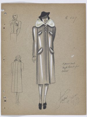 Coat with Highstanding White Fur Collar, Worn with Black Hat