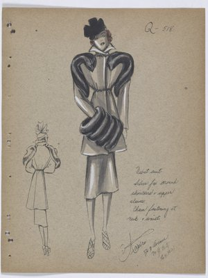 Suit with Fur Around Shoulder and Upper Sleeve, with Fur Muff and Black Hat
