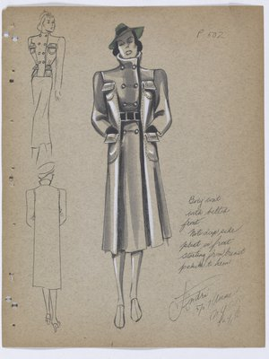 Coat with Military Style Buttons and Deep Pleats at Front, with Green Hat