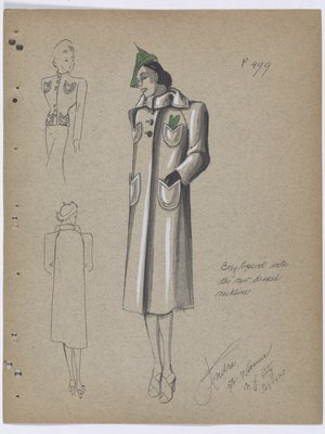Coat with Four Pockets and Green Hat and Handkerchief