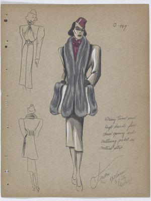 Coat with Fur down Front and Outlining Pockets, with Purple Scarf and Hat