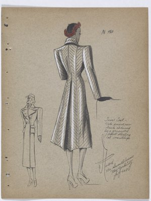 Tweed Coat with Pleat at Back Starting at Waistline