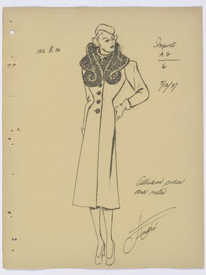 Mainbocher Coat with Fur Collar and Vestee